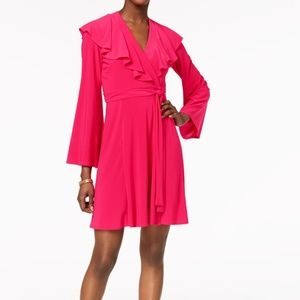 Taylor V-Neck Ruffled Wrap Dress Fuschia